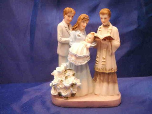 "Christening Cake Top Family With Baby Boy 4.5"" Tall front-48357"