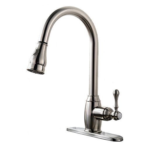 VAPSINT Best Antique Stainless Steel Single Lever One or Three Hole Brushed Nickel Pull Out Kitchen Sink Faucet, Commercial Touch Bar Faucet with Sprayer (Antique Nickel Faucet compare prices)