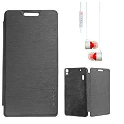 DMG Premium Diary Flip Book Cover Case for Lenovo K3 Note (Black) + White Stereo Earphone with Mic and Volume Control