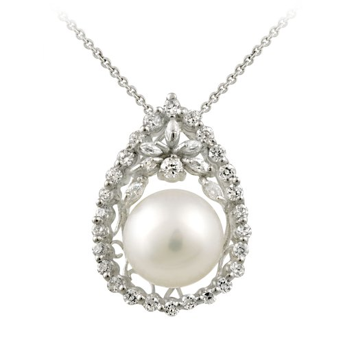 Sterling Silver Cubic Zirconia and Freshwater Pearl Teardrop Pendant Necklace, 18