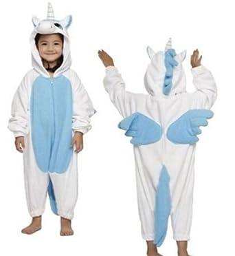 Childrens Animal Unisex Onesie Kigurumi Fancy Dress Costume Hoodies Pyjamas Sleep wear for kids (LARGE FOR HEIGHT UPTO 125CMS, BLUE UNICORN)