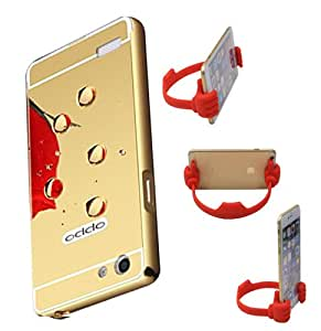 Aart Luxury Metal Bumper + Acrylic Mirror Back Cover Case For OppoNeo5 Gold+ Flexible Portable Mount Cradle Thumb OK Designed Stand Holder