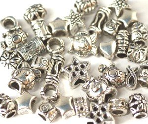 50Pcs Tibetan Silver Mixed Beads- Large Hole & Fits European Bracelets