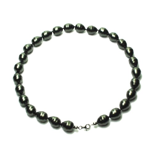 Sterling Silver 12mm Black Shell Pearl Baroque Necklace, 18