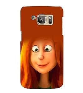 printtech Cute Cartoon Girl Back Case Cover for Samsung Galaxy S7 / Samsung Galaxy S7 Duos with dual-SIM card slots