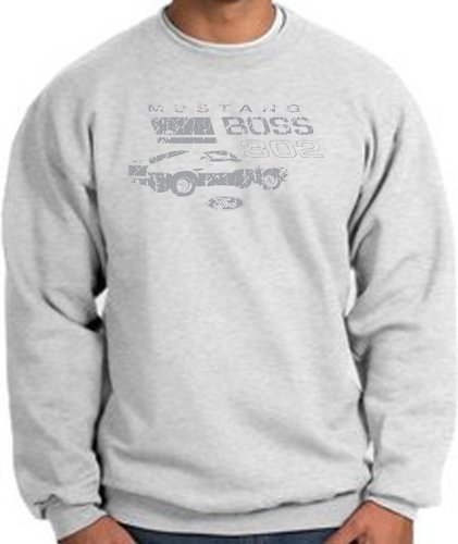Ford Car Distressed Mustang Boss 302 Classic Adult Sweatshirt - Ash, Medium