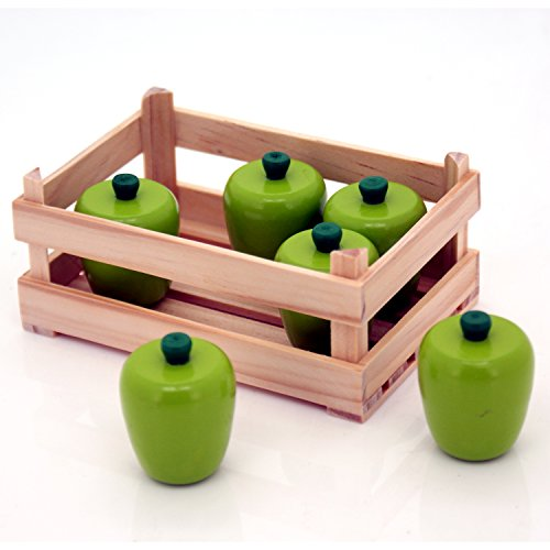 Wooden Green Apples Set of 6