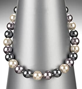 Faux Pearl Ombre Marble Collar Necklace