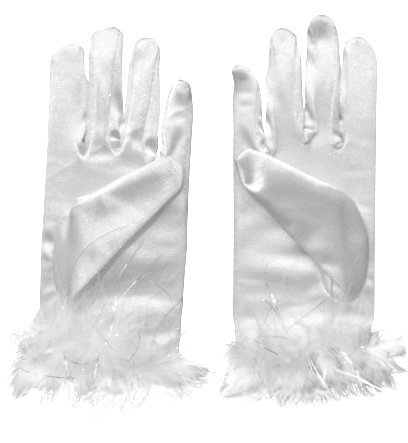 White Dress-Up Gloves with Fuzzy Trim