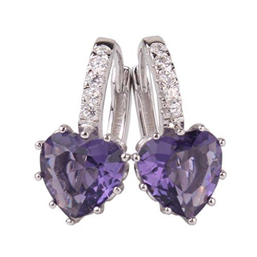 GULICX Heart Shape 18k White Gold Filled Created Amethyst Purple leverback Hoop earrings