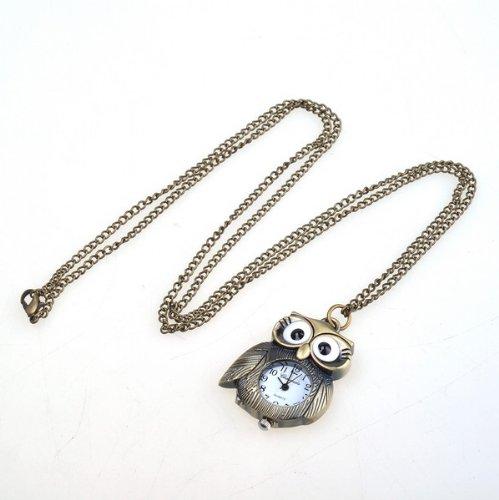 Bestdealusa Stylish Bronzy Owl Shape Stainless Necklace Pendant Pocket Watch