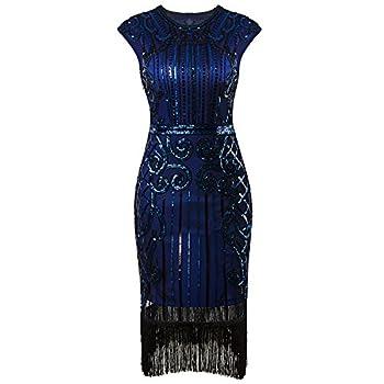 Vijiv 1920s Vintage Inspired Sequin Embellished Fringe Long Gatsby Flapper Dressblue