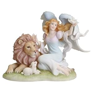 "Faithful Guardian Angel Statue - Calista - 7"" high - Stone Resin"