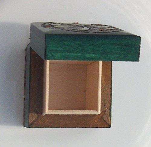 Small Irish Shamrock Box Hand Carved Wood