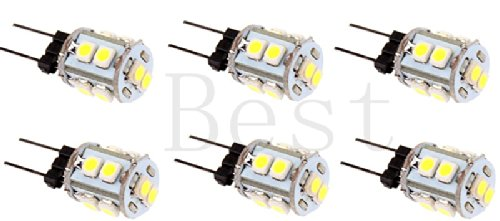 Best To Buy® (6-Pack) 2.1-Watt G4 Led Bulb 12V Ac/Dc, 10Smd 5050 Led, 1.5W Warm White Color (Jc10 Bi-Pin 9W Replacement)