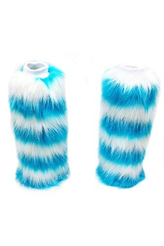 Alyson Gherardi Queen Women Winter Faux Fur Leg Warmers Fluffy Boot Sleeves/Boot Covers Blue single