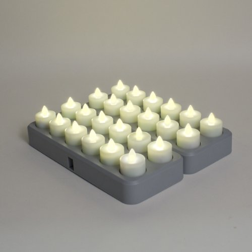 Set Of 24 Warm White Led Rechargeable Tea Lights With Remote Control And 2 Induction Charging Bases