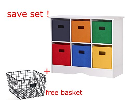 [Value Set- Storage with 6 bright bins with Wire Storage Basket, Gray by Since1994] (Ideas For Homemade Robot Costumes)