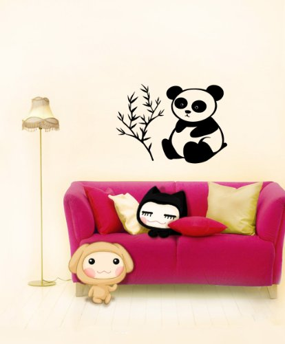 Housewares Vinyl Decal Cartoon Panda Bear Near Bamboo Tree Home Wall Art Decor Removable Stylish Sticker Mural Unique Design For Any Room front-1009557