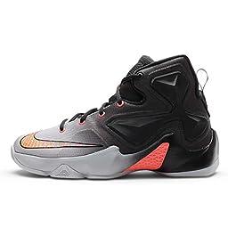 Nike Kid\'s Lebron XIII GS, WOLF GREY/BRIGHT CRIMSON-BLACK-COOL GREY, Youth Size 5