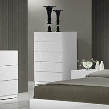 J&M Furniture Naples Chest in White Lacquer