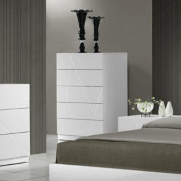J&M Furniture Naples Chest In White Lacquer