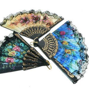SPANISH FLORAL FOLDING HAND FAN Size 9