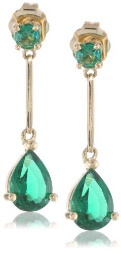 14k Gold Semi Tear-Shaped Precious Drop Earrings