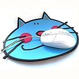 猫顔マウス・パッド(ブルー)