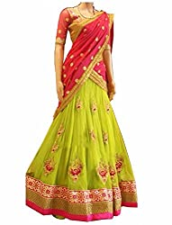 Everest women's Banglory-Georgette Heavy embroidery Work Parrot green Semi-Stitched Bollywood Designer Lehenga Choli/partywear lehenga choli.