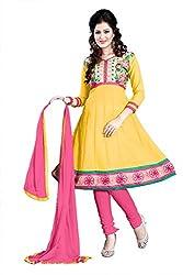 Kimisha Yellow Cotton Embroidered Anarkali Dress Material