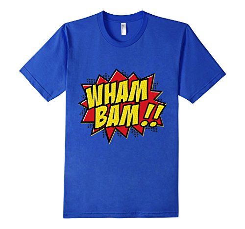 Mens-EmmaSaying-Wham-Bam-Pop-Art-Retro-Teen-Bazooka-Style-Shirt-Royal-Blue