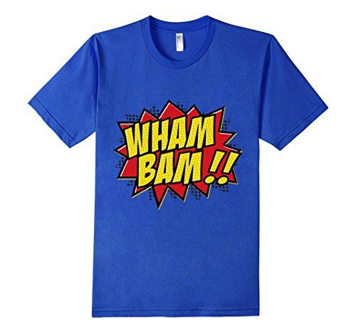 Mens-EmmaSaying-Wham-Bam-Pop-Art-Retro-Teen-Bazooka-Style-Shirt-Royal-Blue