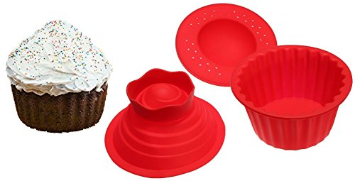 Jumbo Cupcakes Bake Set - 25x Bigger Than a Big Cupcake! - Also Includes Cupcake Recipe Book (Giant Cupcake Baking Pan compare prices)