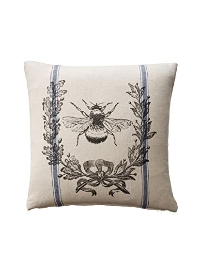 French Laundry Daphne Bee & Crest Pillow, Blue