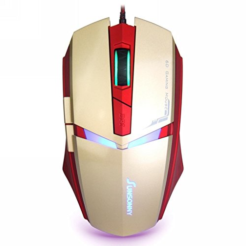 Gaming Mouse, HCE 5 Buttons LED USB Wired Mouse, 5 ft Braided Cable, Side Control, 1600 DPI (Golden)
