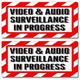 Video & Audio Surveillance In Progress Sign - Alert Warning - Set of 2 - Window Business Stickers