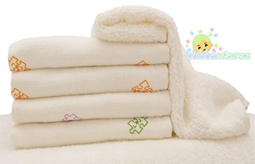 "Baby Washcloths - Soft Organic Dual Sided Bamboo Towels - Recommended By Specialists, so Gentle, Versatile and Perfect for Yours and Babies Delicate Skin You'l Never Leave Home Without One - Great Baby Registry Gift - 5 Pack 10"" X 10"" By Bubbawarez"
