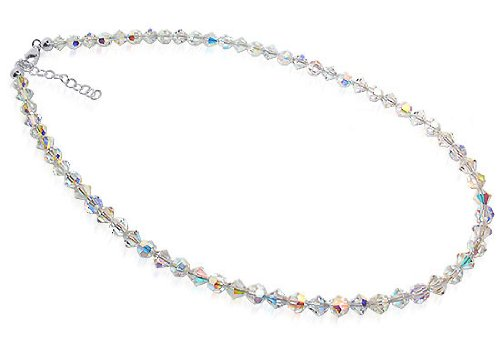 Sterling Silver Clear Crystal Necklace with 14 inch Made with Swarovski Elements
