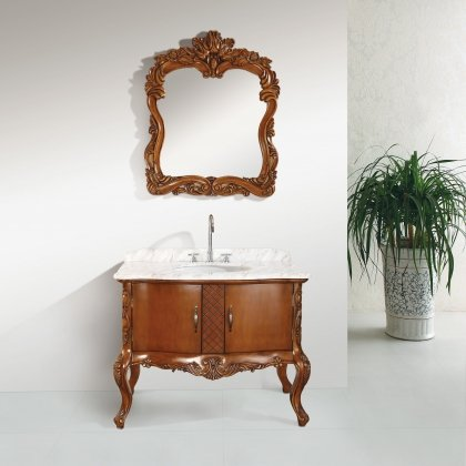 "Monte USA MUAA-024 43"" Bathroom Vanity, White Marble Countertop, Undercounter White Ceramic Oval Basin, in Oak with Brown Finish."