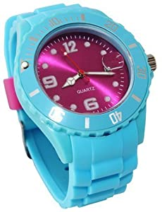 Avcibase Silicone Watch - Soft Blue Pink Crazy A Colourful Design XL Design Date Calendar ICE Unisex Fan Men's Women's Children's Watch - 2013 Model Rubber Band