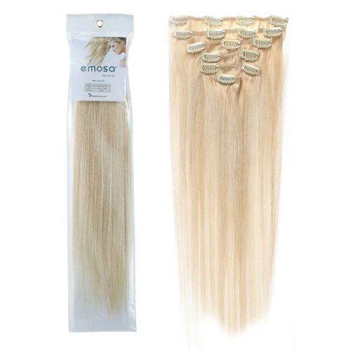 Emosa 100% Real Human Hair Remy Hair Extensions Clip In Extensions(15inch,70g,#60 Platinum Blonde)