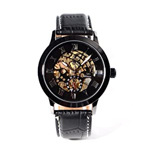 Mens Black Leather Steampunk Style Skeleton Automatic Mechanical Wristwatch + Gift Box