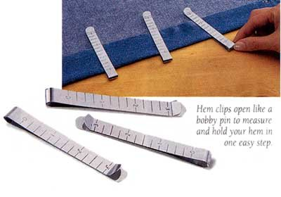 "Great Features Of 3"" STAINLESS STEEL RULER HEM CLIPS - SET OF 6"