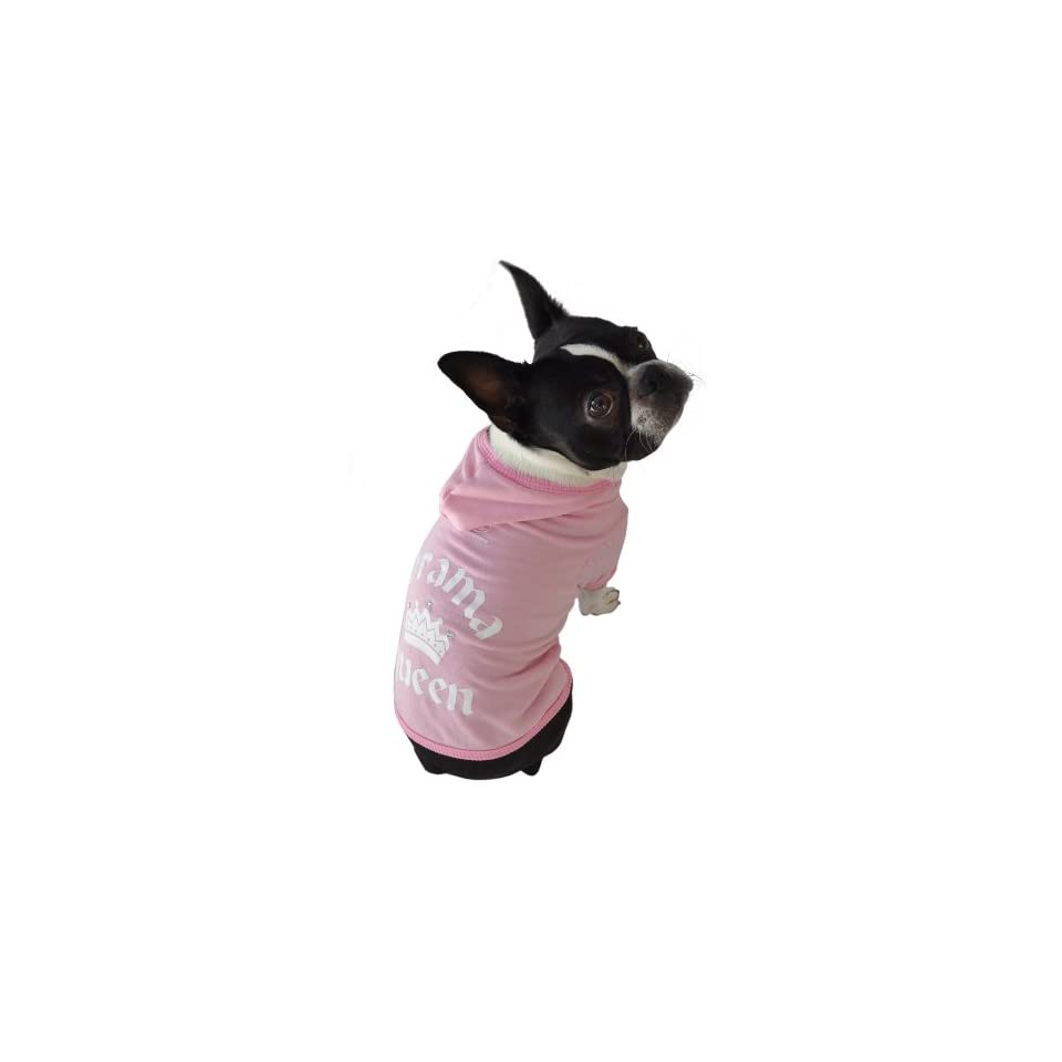 Ruff Ruff and Meow Dog Hoodie, Drama Queen, Pink, Extra Large