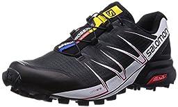 Salomon Speedcross Pro Trail Running Shoe - Men\'s Black/White/Bright Red, US 10.0/UK 9.5