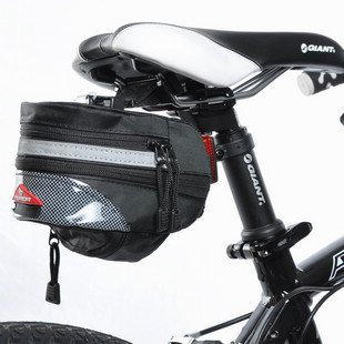 Nexify Black Cycling Bike Bicycle Outdoor Pouch Seat Bag + Bike Chainstay Protector front-886092