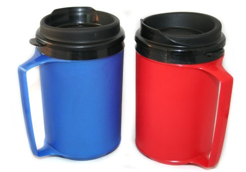 2 Thermoserv Foam Insulated Coffee Mugs 12 Oz (1) Blue & (1) Red