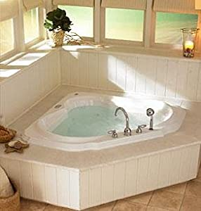 Jacuzzi DB95969 Bellavista Corner Whirlpool Bath with 2-Speed Front Motor, Oyster