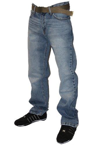 Mens Lightwash FB-M Designer Branded Zipped Fly Boot Cut Denim Jeans W32 L32